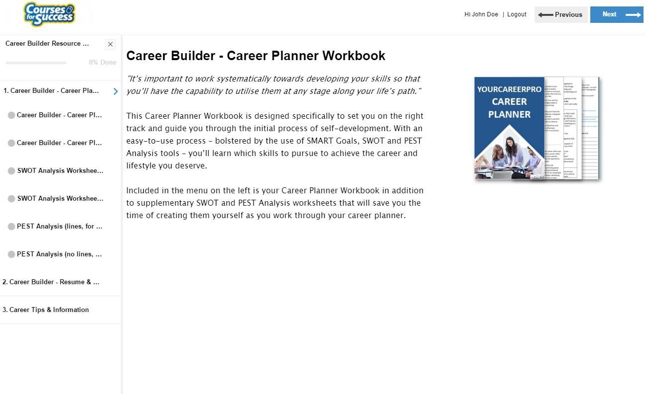 Career builder library overview section one is the the career builder library planner here you can download your workbook and the supplementary worksheets malvernweather Choice Image